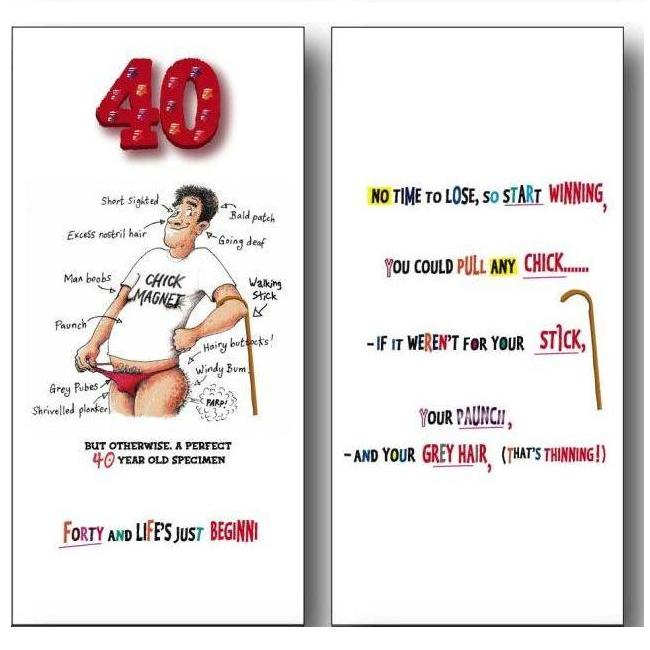 40th Birthday Wishes Messages For 40 Year Olds Him Funk Tart Witty Age Greetings Card